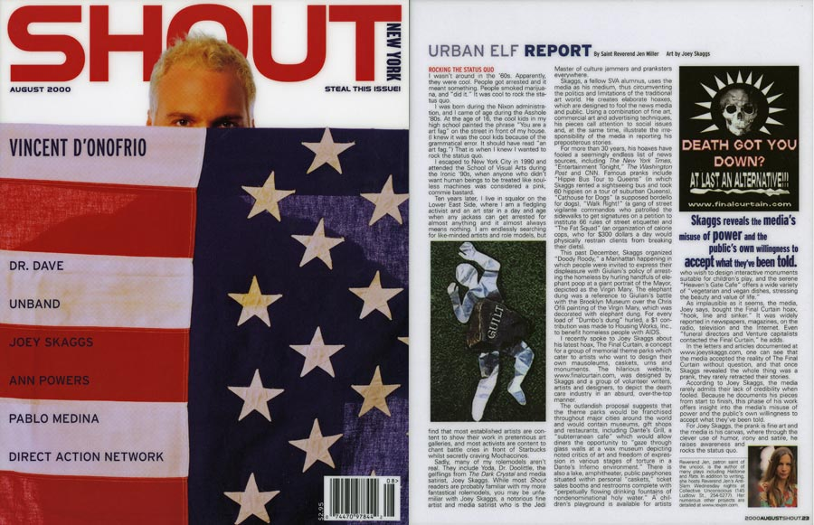 Urban Elf Report: Rocking the Status Quo, by Saint Reverend Jen Miller, Shout, August, 2000