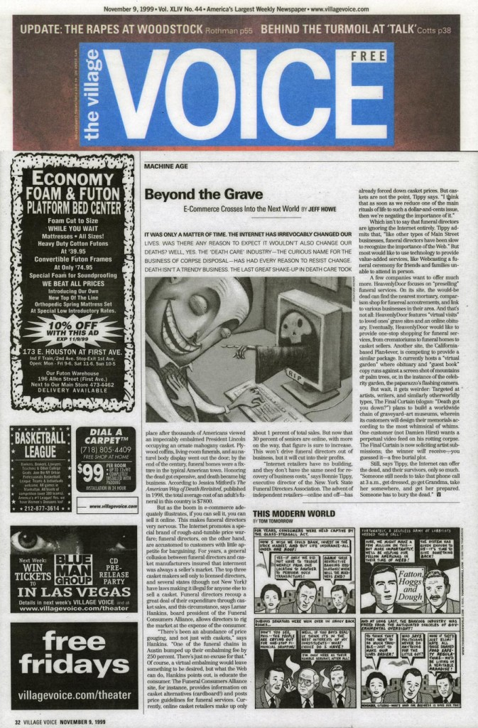 Beyond the Grave: E-Commerce Crosses Into the Next World, by Jeff Howe, Village Voice, November 9, 1999