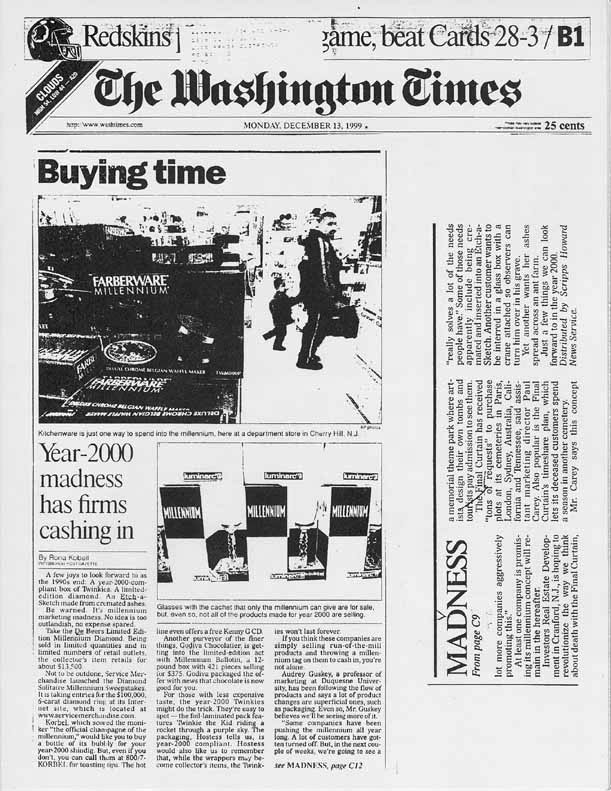 Buying time: Year-2000 madness has firms cashing in, by Rona Kobell, The Washington Times, December 13, 1999