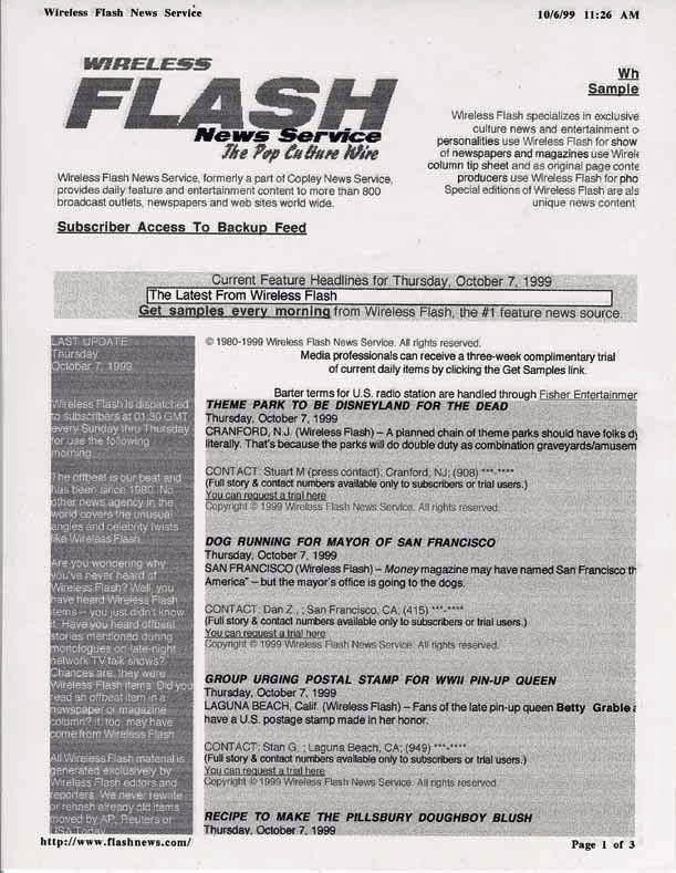 Theme Park to be Disneyland for the Dead, Wireless News Flash, October 7, 1999