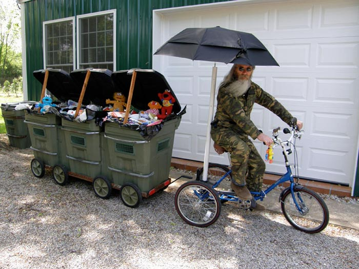 Joey Skaggs on pedaling his Mobile Homeless Homes prototype
