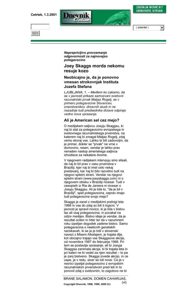 Joey Skaggs morda nekomu resuje kozo, Dnevnik, March 1, 2001 [In Slovene]