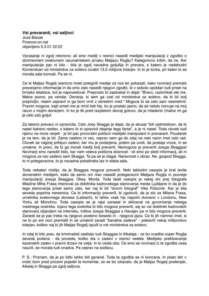 Vsi prevaranti, vsi saljivci, by Jože Biščak, Finance-on.net, March 5, 2001 [In Slovene]