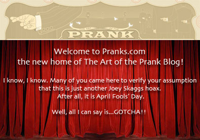 Art of the Prank blog welcome curtain