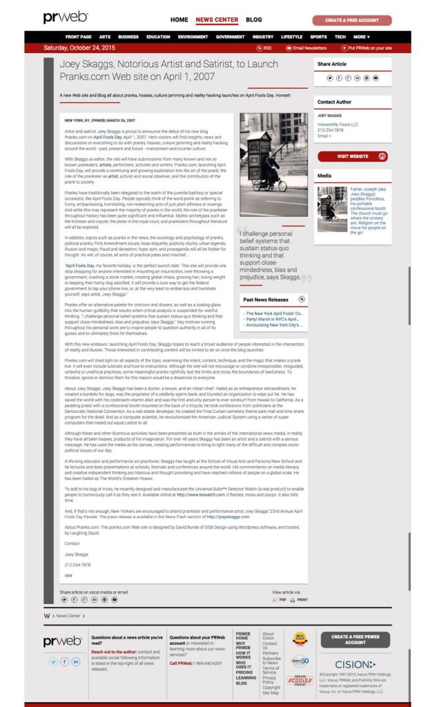 Art of the Prank blog press release, April 1, 2007