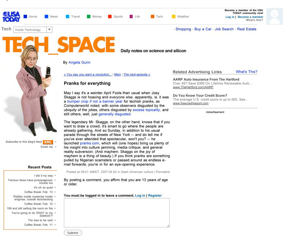 Pranks for everything, Tech Space, by Angela Gunn, USA Today, April 2, 2007