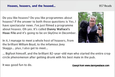 Hoaxes, hoaxers and the hoaxed, promo for Danny Wallace's Hoax File