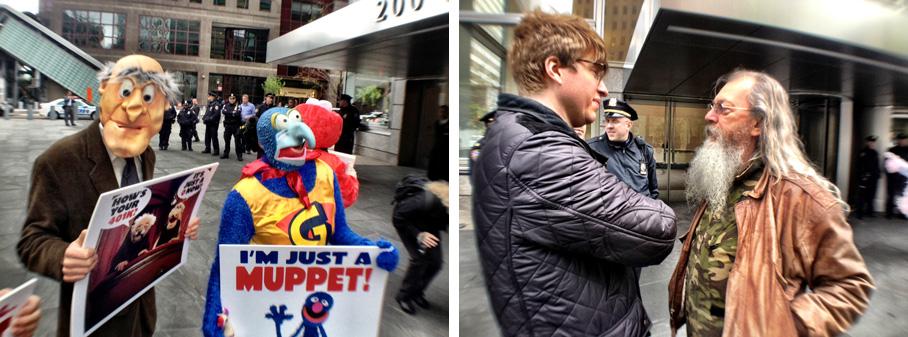 Joey Skaggs' Mobile Homeless Homes demonstration