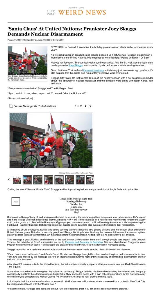 'Santa Claus' At United Nations: Prankster Joey Skaggs Demands Nuclear Disarmament, Huffington Post, November 14, 2016