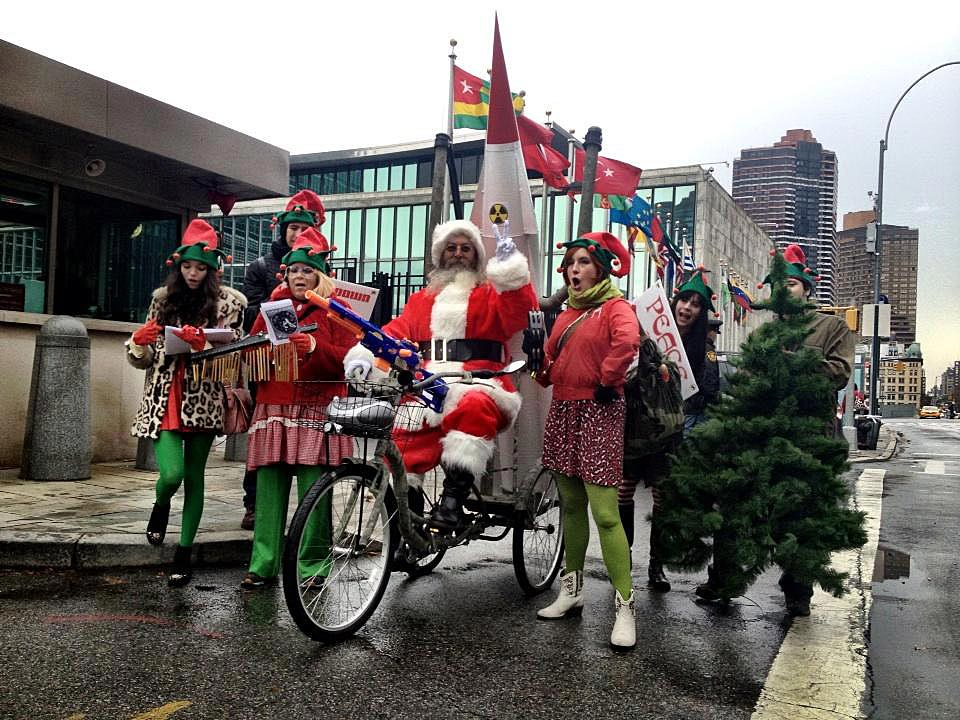 Joey Skaggs' Santa Missile Tow protest in front of the United Nations