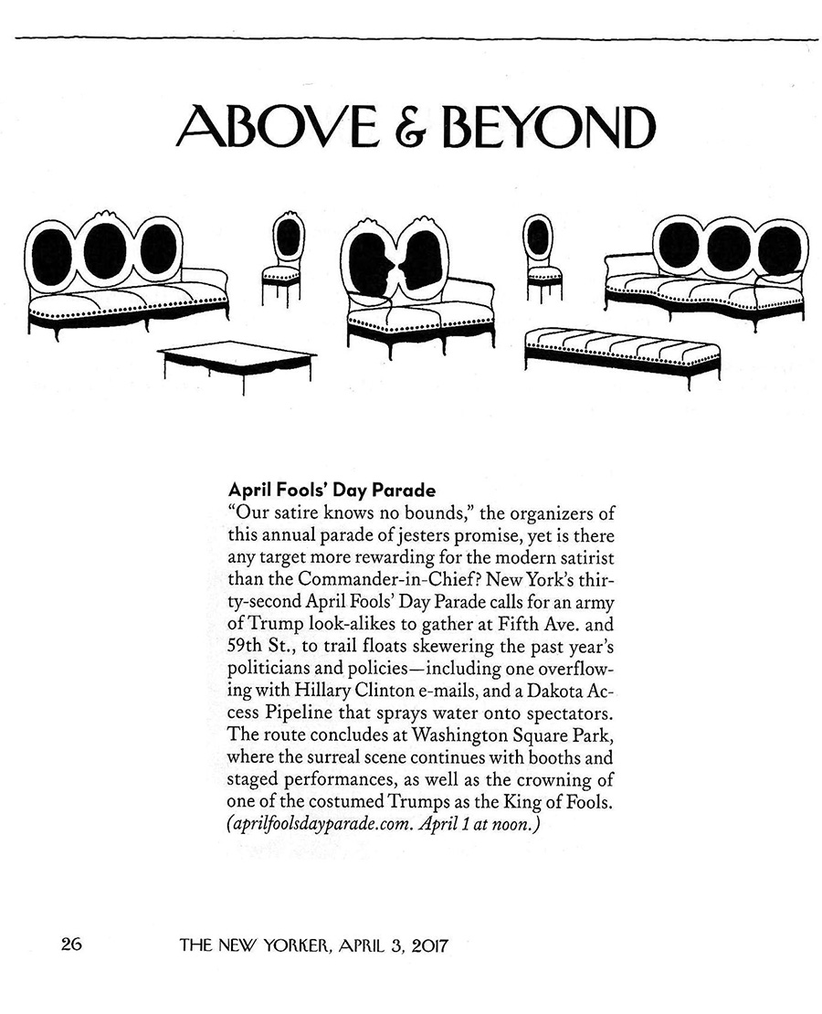 7252c44c8 Above & Beyond: April Fools' Day Parade, New Yorker, March 29, 2017 ...