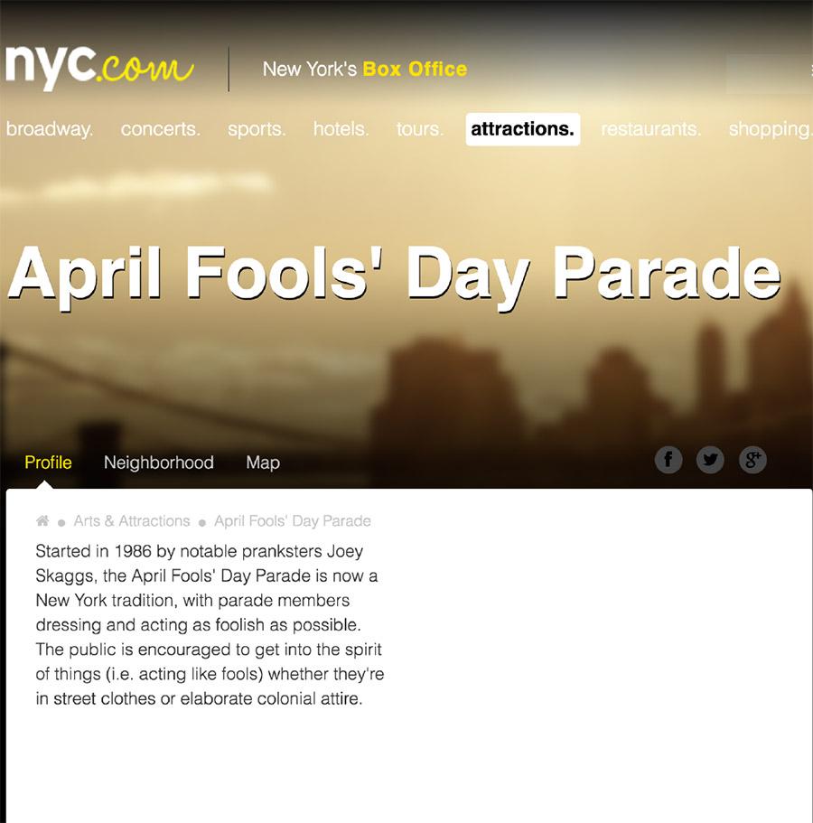 April Fools' Day Parade, NYC.com, April 1, 2017