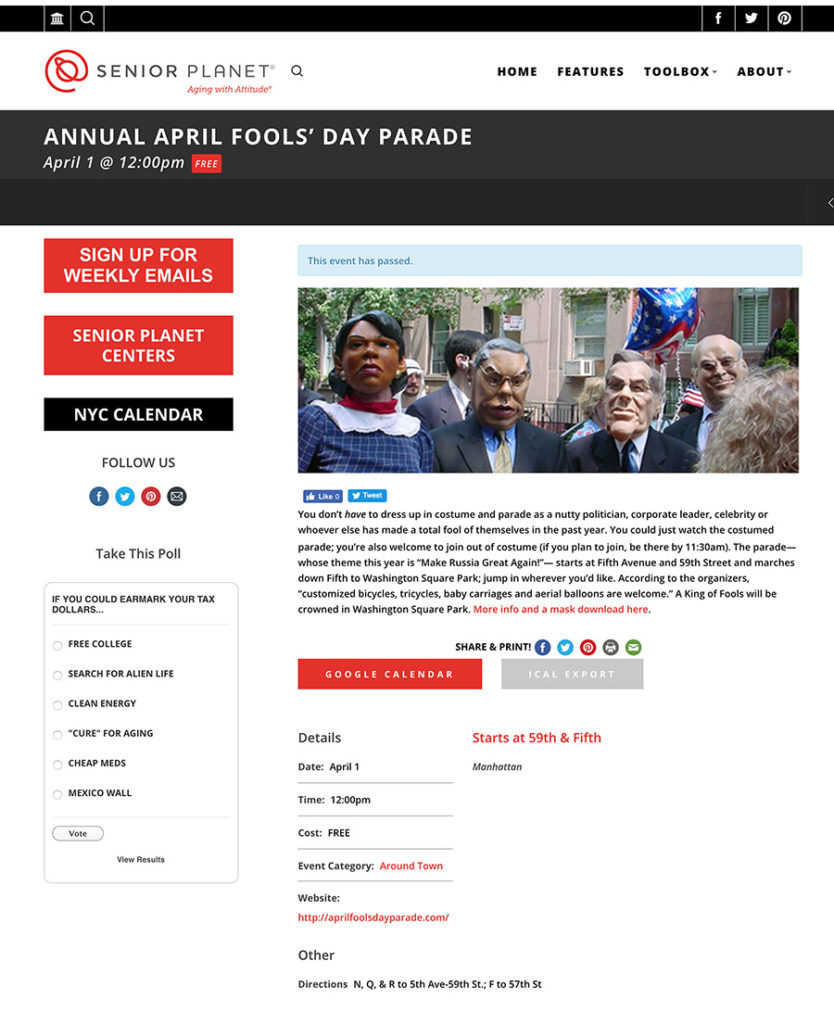 Annual April Fools' Day Parade, Senior Planet, April 1, 2017