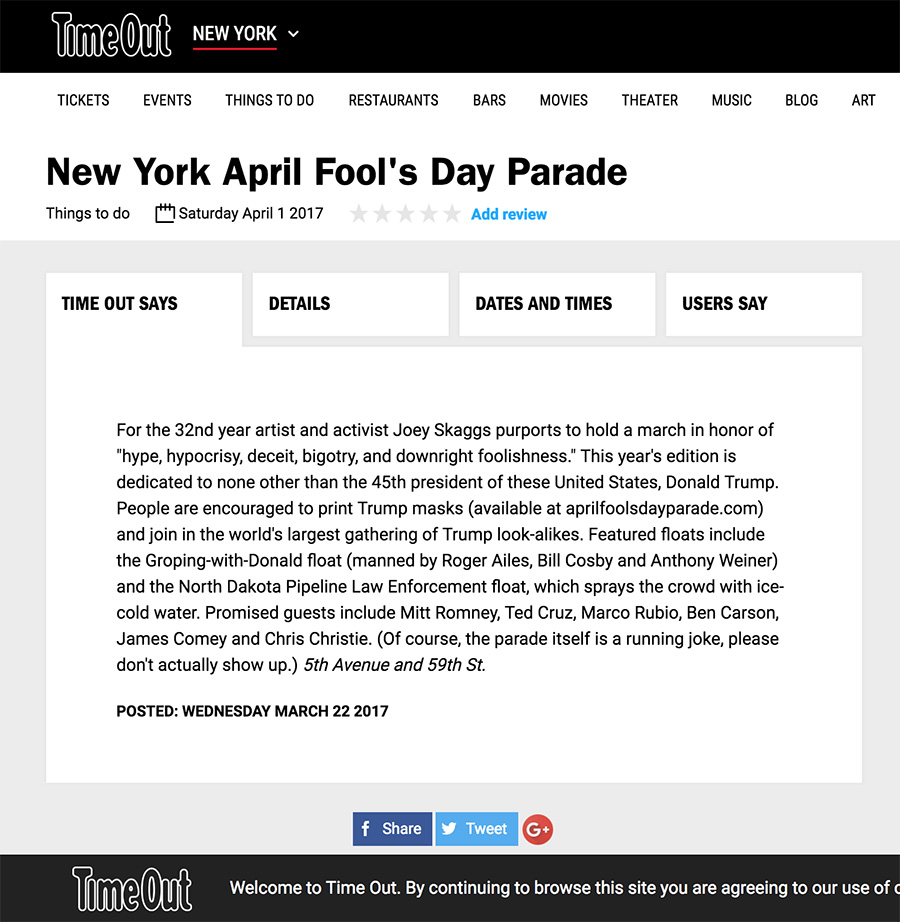 New York April Fool's Day Parade, Time Out New York, March 22, 2017