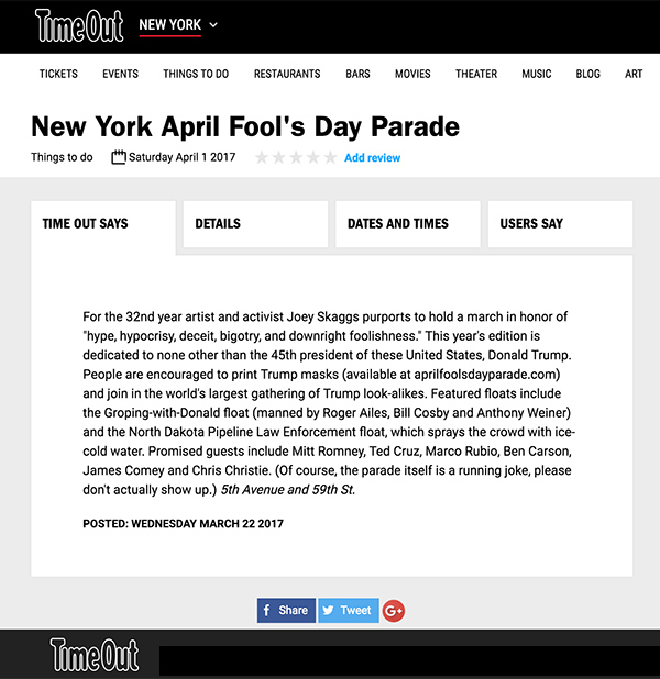 New York April Fools' Day Parade, Time Out New York, March 22, 2017