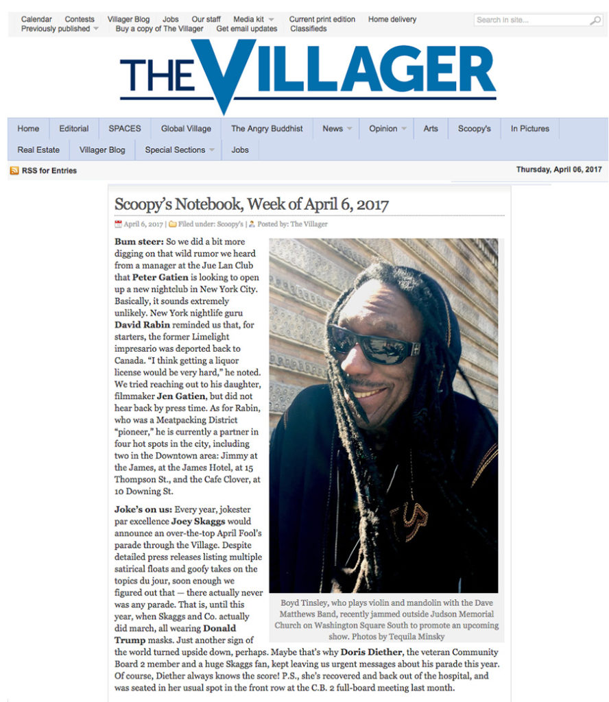 Scoopy's Notebook, Week of April 6, The Villager Newspaper, April 6, 2017