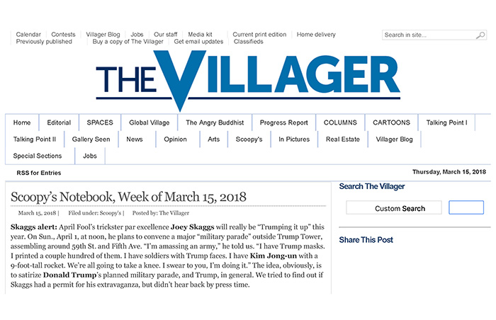 Scoopy's Notebook, by Lincoln Anderson, The Villager, Week of March 15, 2018