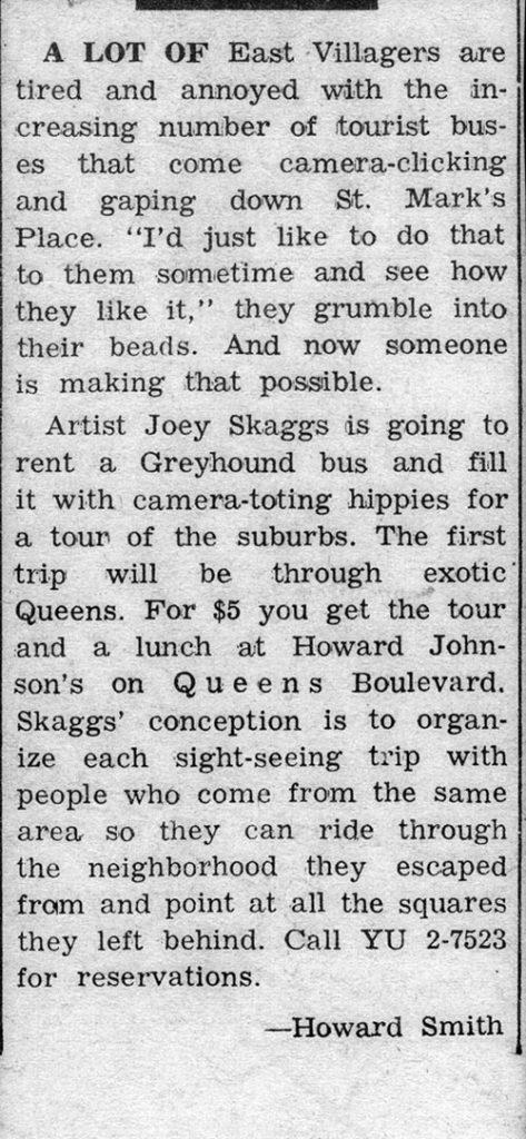 Bus Tour Announcement, by Howard Smith, Village Voice, September 1968